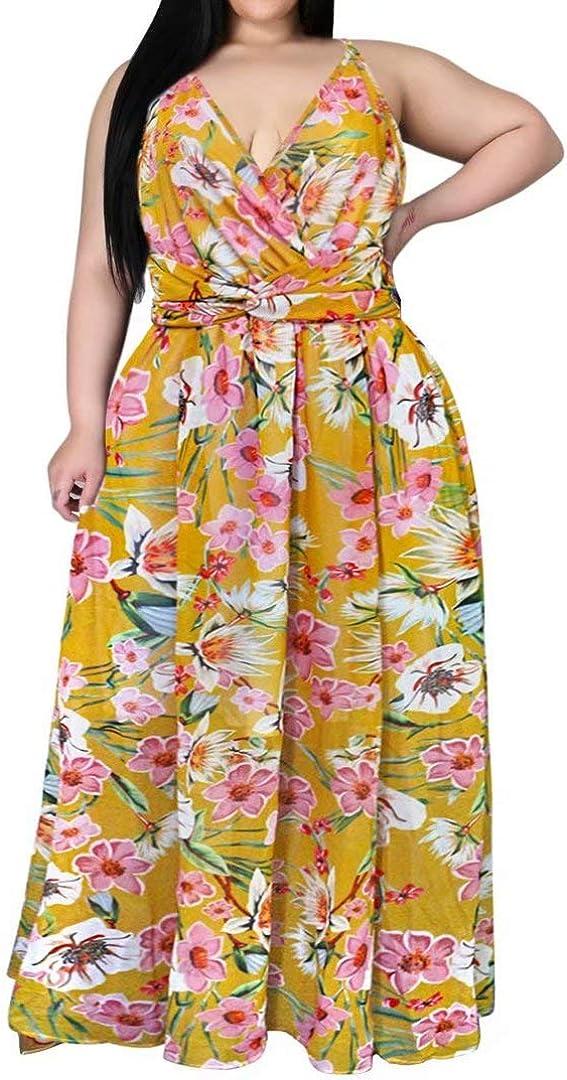 Womens Sexy Plus Size Spaghetti Strap Wrap V Neck Floral Boho Chiffon Beach Party Long Maxi Dress