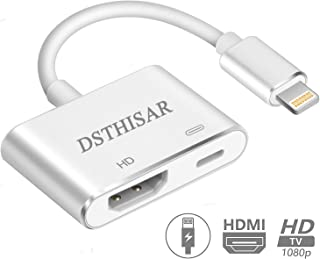 DSTHISAR Digital HDMI Adapter Converter New Edition 2 in 1 Plug and Play Digital AV Connector Compatible for Phone Xs Max XR X 8 7 6 Plus Pad Pod(Silver)