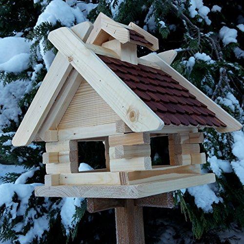 Vogelhaus Schreinerarbeit Futterhaus Vogelhäuschen –Wetterschutz– K Block Braun Holz Vogelhäuser - 2