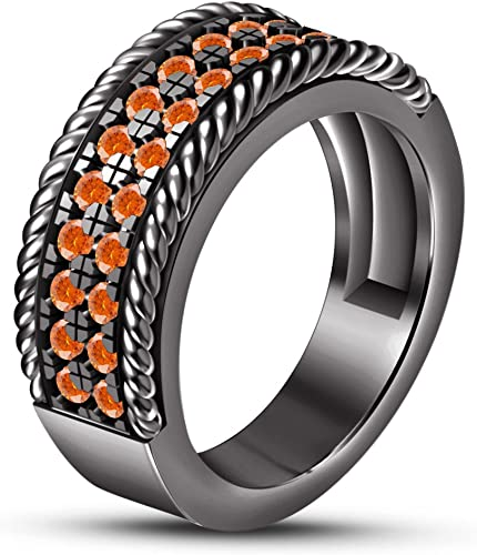 entrega rápida Vorra Fashion - Anillo de de de boda de plata de ley 925 para hombre, corte rojoondo, Color naranja  El ultimo 2018