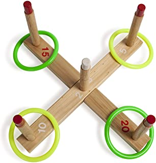 Champion Sports QS1 Wooden Ring Toss Set,Classic