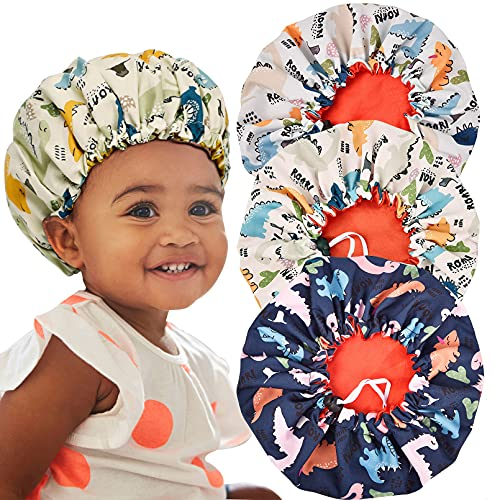 3 Pieces Kids Satin Bonnet Dinosaur Adjustable Sleep Cap for Curly Hair Silk Double Layer Reversible Night Hats for Baby Teens Toddler Child