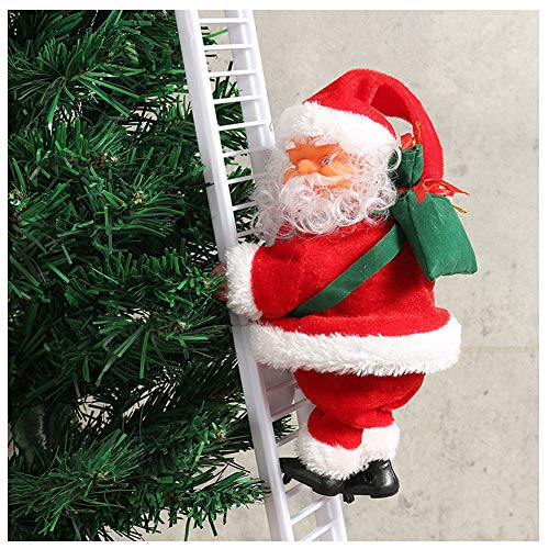 Dastrues 1 Pcs Electric Climbing Ladder Santa Claus Christmas Lovely Santa Claus Figurine Ornament Decoration Gifts Santa Claus Can Climb Ladder Automatically