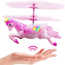 Flying Unicorn Toys Flying Fairy Toys Pink Mini Flying Helicopter Unicorn Toy Gifts for Little Girls 8 9 10-14 Years Old Up Birthday Xmas Party Supplies