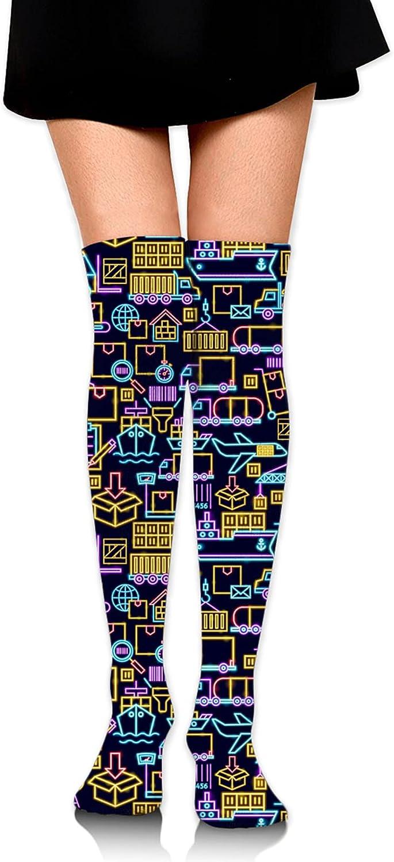 Colorful Hand Prints Women High Thigh Socks Warm Stocking Knee High Socks