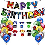 Superhero Avengers Theme Birthday Party Supplies 1Pcs Banner 18Pcs Children Balloons 12Pcs Children Superhero Masks and Superhero Slap Bracelet Party Decorations The Best Birthday Gifts for Kids