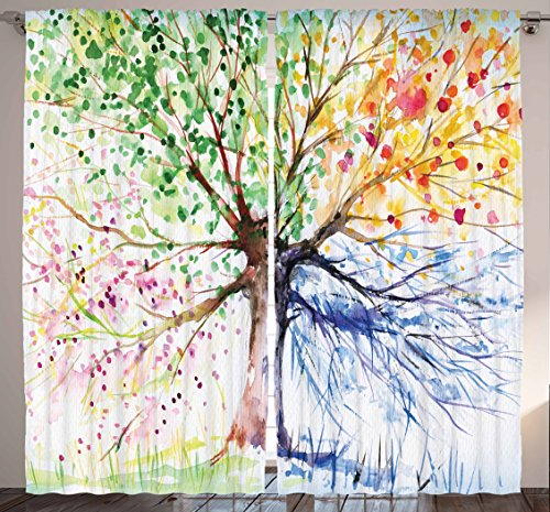 """Ambesonne Tree Curtains, Watercolor Style Tree with Colorful Blooming Branches 4 Seasons Theme, Living Room Bedroom Window Drapes 2 Panel Set, 108"""" X 84"""", White Green"""
