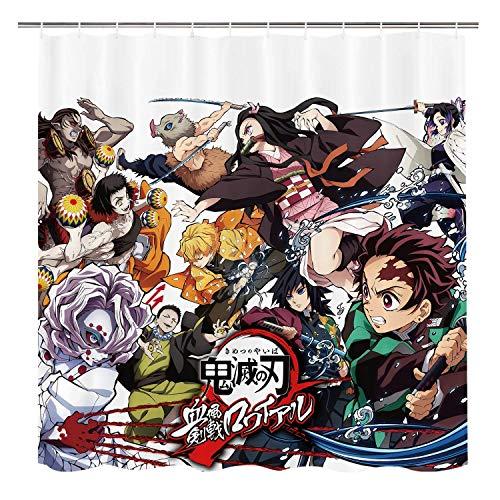 Demon Slayer Anime Shower Curtain, Manga Characters Bathroom Decor, 72x72in