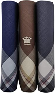Louis Philippe Men's Cotton Dark Handkerchief with Brand Logo (Pack of 3)
