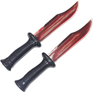 Qzerplay Halloween Weapon Fake Plastic Bloody Killer Knife