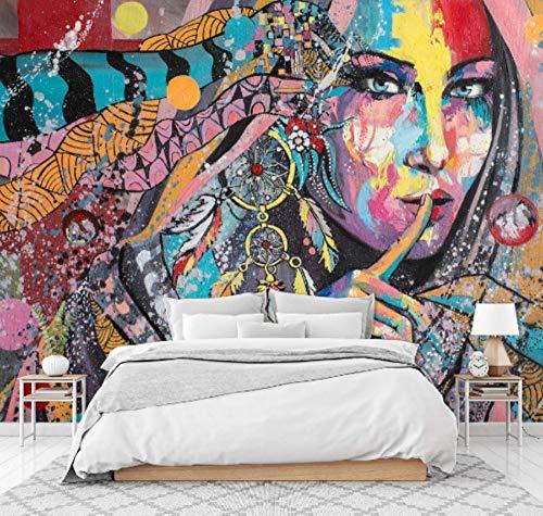 SKTYEE 3D Retro Woman Colour Graffiti Wall Adesivo Murale per stampa per parete Murales, 400x280 cm (157,5 per 110,2 in)