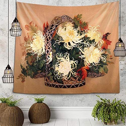 N/A Tapiz de Dormitorio Una Canasta de Flores Tapiz de crisantemo Colgante de Pared Colcha de Cama Toalla de Playa Mantel Estera de Yoga