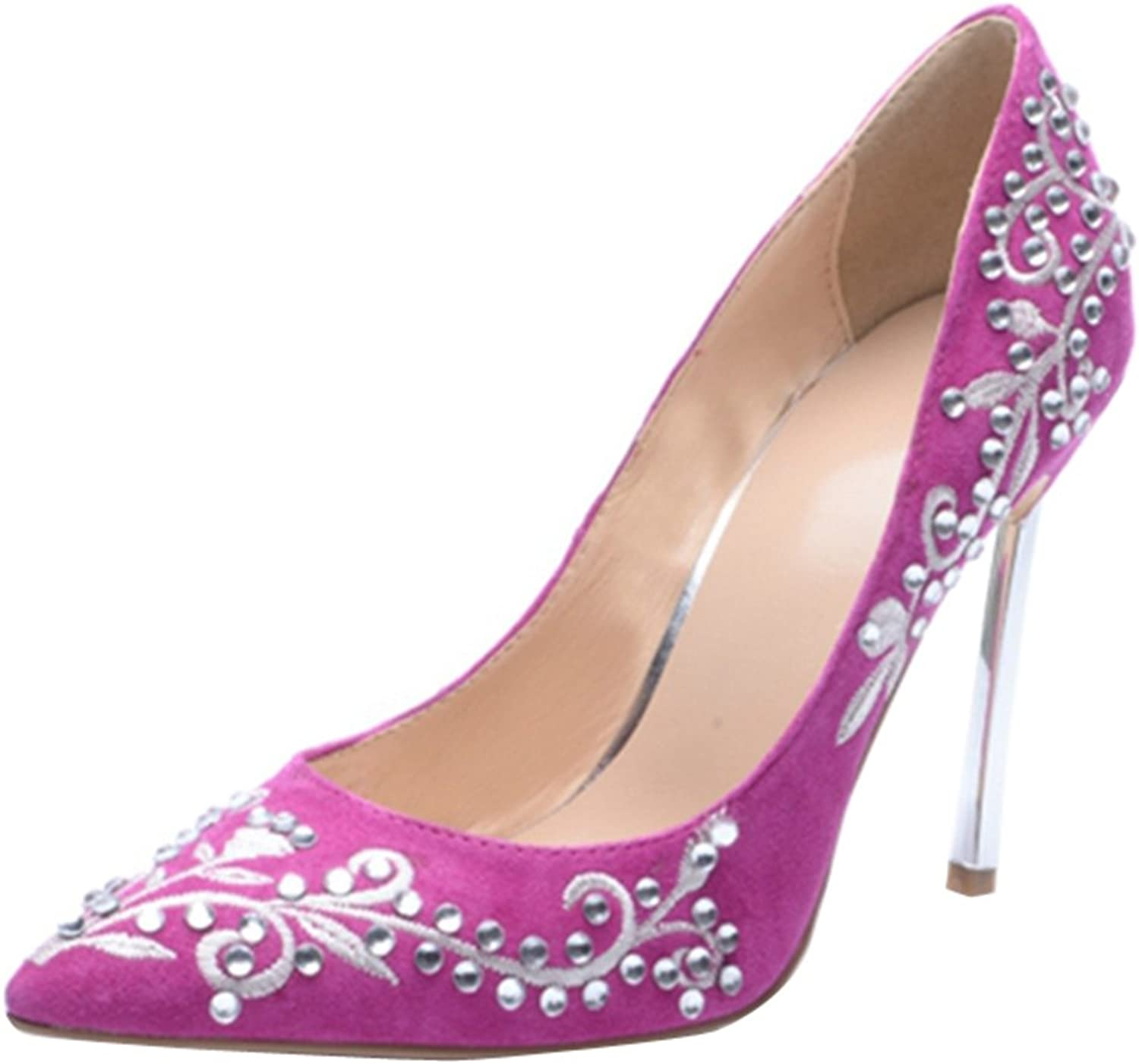 TDA Women's Charming Pointed Toe Embroidered Flower Suede Evening Party Dress Stiletto Pumps