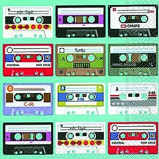 20 servetten Music is in the Air - cassetverzameling / muziek / retro 33x33cm
