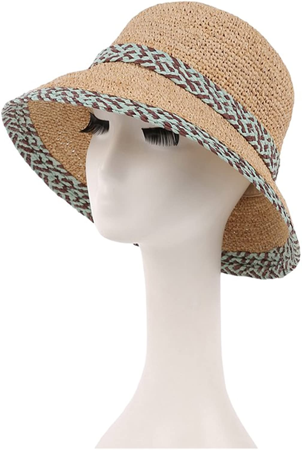Straw Hat Sun Hat Lady Outdoor Sun Hat Summer Wind Sunscreen Travel Beach Hat Foldable Fashion Cooler (color   Green)