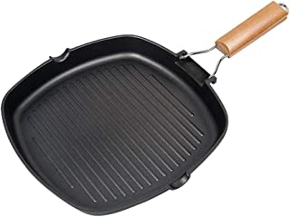 IAXSEE Cast Iron Grill Pan Non-stick Stripe Frying Pan For Stove Top Universal With Wooden Folding Handles (8'')