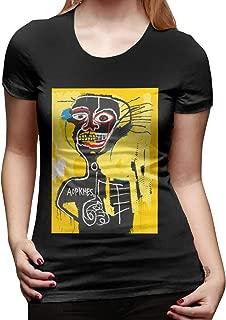 Jean Michel Basquiat Women's Basic Short Sleeve T-Shirt Colorful Print Graphic Tee Shirts Crewneck T-Shirt