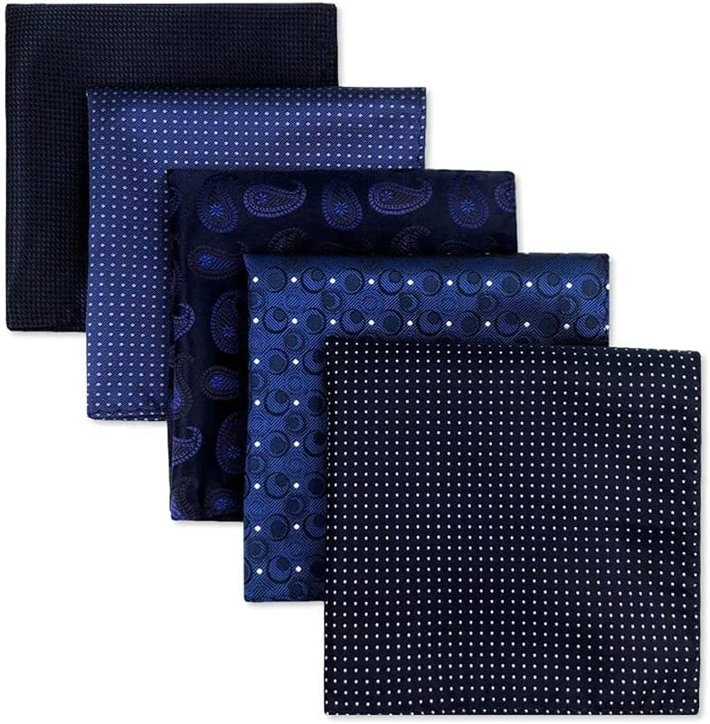 EODNSOFN 5 Pieces Colorful Assorted Mens Pocket Square Silk Classic Handkerchief Set Gift Colorful (Color : B, Size : 32x32CM)