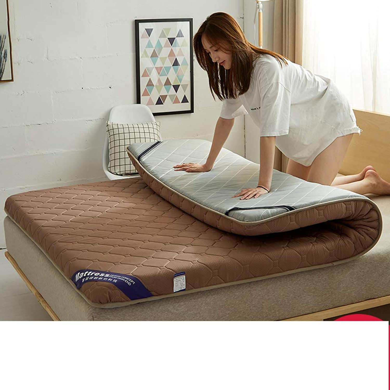 Thicken Mattress Topper Fitted Skirt Quilted, Tatami Floor Mattress Mat Pillow Pad-Coffee 150x190cm(59x75inch)
