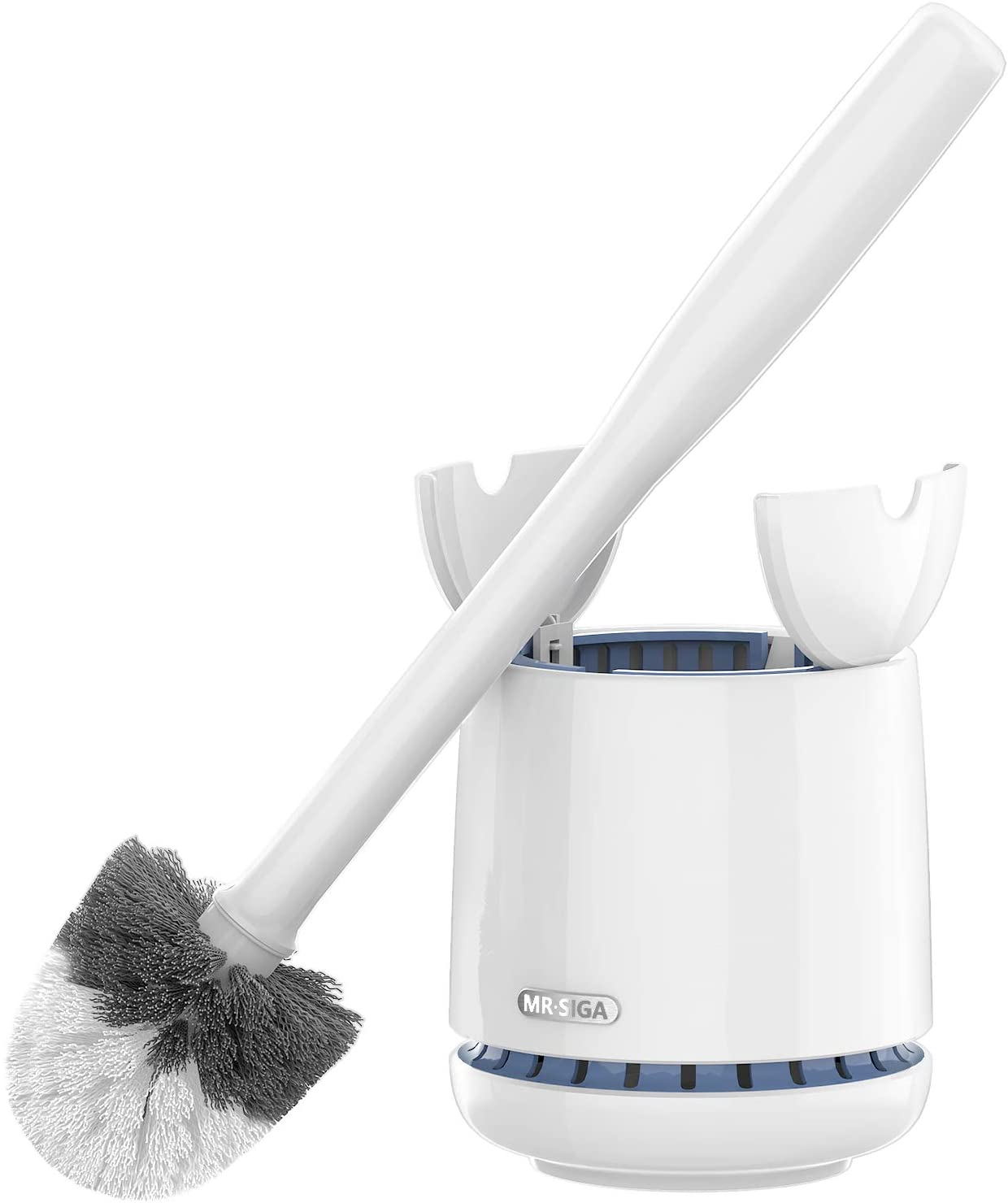 MR.SIGA Toilet Bowl Brush and Holder, Premium Quality, with Solid Handle and Durable Bristles for Bathroom Cleaning, White, 1 Pack: Kitchen & Dining
