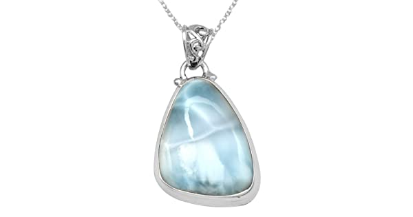 YoTreasure 1 3//4 Larimar Chain Pendant Solid 925 Sterling Silver