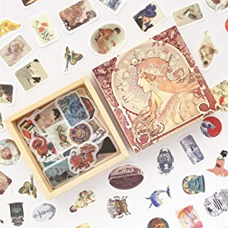 Doraking 200PCS Middle Size Vintage Theme Scrapbook Washi Stickers for Scrapbooking Diary Decoration (Retro Themed)