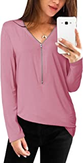 YOINS Sexy Oberteil Damen Sommer Elegante Langarmshirts Damen Bluse Tunika Frühling T-Shirt V-Ausschnitt Tops