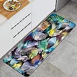 VINISATH Alfombra de Cocina,Colorido Pavo Real Pluma Animal Aves Nación India Tribu Creativo Lámina artística,tapete Decorativo para Piso de Cocina con Respaldo Antideslizante, 47'x17'