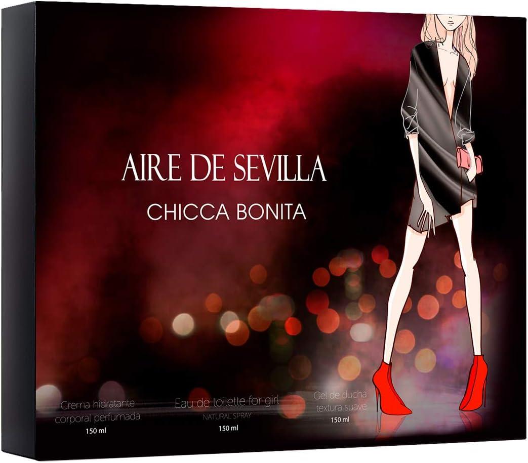 Set Perfume Chicca Bonita Aire de Sevilla - EDT, Crema Hidratante y Gel Exfoliante