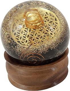 FASHIONZAADI Black Tourmalin Orgone Ball with Flower of Life Symbol for Chakra Balancing Crystals Sphere Stone Reiki Heali...