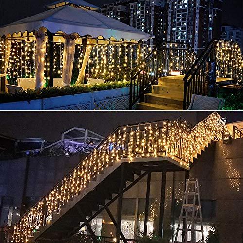 BLOOMWIN Guirnaldas Cortina de Luces 256 LED 6m * 1m 6V Bajo Voltaje con 8 modos Luces de Navidad Cadena Hadas Interior Exterior para Navidad,Boda, Fiesta,Jardín,Ventana, Pared,Balcón