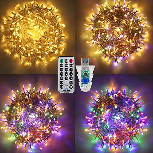 Ollny String Lights,33Ft/10M 100 LED Warm White&Multi Colour Changing Led Fairy Lights USB Powered Waterproof with Remote for Outdoor Indoor Bedroom Party Wedding Christmas Tree Patio Yard Garden
