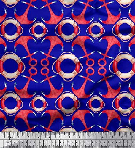 Soimoi Blau Baumwolle Ente Stoff Rettungsring & Ankerhaken nautisch Dekor Stoff gedruckt 1 Meter 56 Zoll breit