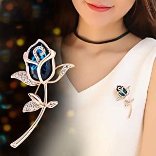 Huture Lapel Tulip Flower Crystal Brooches Rhinestone Decoration Buckle Pin Jewelry for Collars Dresses and Most Clothes of Ladies Women Girls Gifts for Valentine's Day, Silver White Blue