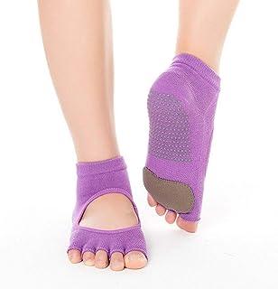 SGJFZD 3pairs/Pack Non-Slip Dig Hole Yoga Socks Five Finger Socks Open Toe Back Sports Silicone Pad Yoga Socks, Color Randomly Sent (Color : Random)