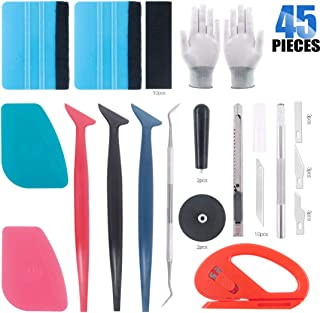 Glarks 45Pcs Auto Window Tint Film Tool Kit Vinyl Wrap Tool Set Including Felt Squeegee with Spare Fabric Felts, Micro Squeegees, Vinyl Magnet Holders, Cutter Knife, Gloves, Snitty Vinyl Cutter