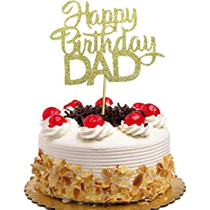 Happy Fathers Day Cake Topper Happy Fathers Birthday Party Decorations Best Dad Ever Cake Toppers Mirror Black