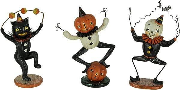 Transpac Pumpkin Peeps Dancing Cat Ghost And Pumpkin Figurines Set Of 3