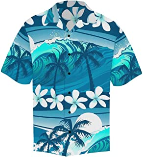 INTERESTPRINT Men`s Casual Button Down Short Sleeve Mermaid Hawaiian Shirt (S-5XL)
