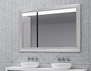 Hitchcock Butterfield Giza II Stepped Modern Silver Framed Wall Mirror, 26.25