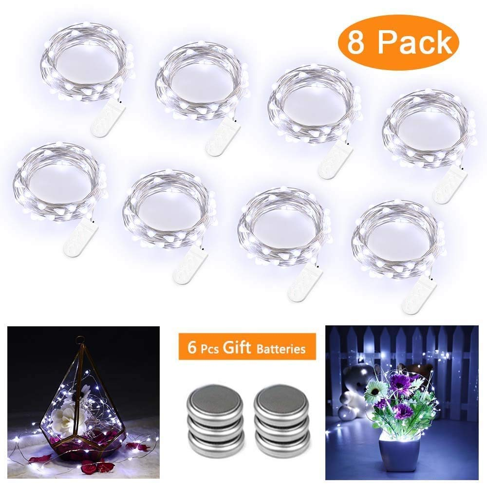 Qedertek 8 Pack Guirnalda Luces LED Pilas, Luces a Pilas 3M 30 LED, Habitacion Luces de Navidad, Micro Luces de Cadena de Alambre de Cobre para Decoración Interior, Bodas, Party (Blanco): Amazon.es: