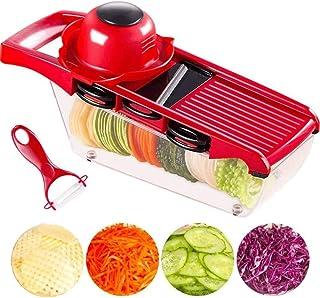 Coupe de légumes polyvalents 7 en 1 Mandoline de cuisine, trancheuse de cuisine et couteaux manuels, lame en acier inoxyda...