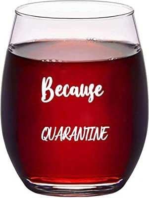 because Quarantine Funny Wine Glass for Patients and Doctors alike During Social Distancing