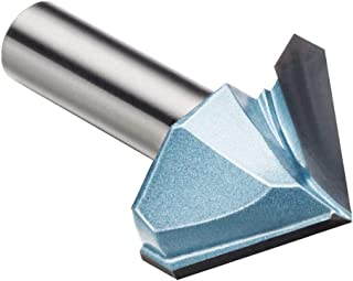 "uxcell 90 Degree V-Groove Router Bit 1-1/2"" Dia with 1/2"" Shank, Carbide Tipped V Grooving Bit (Light Blue)"