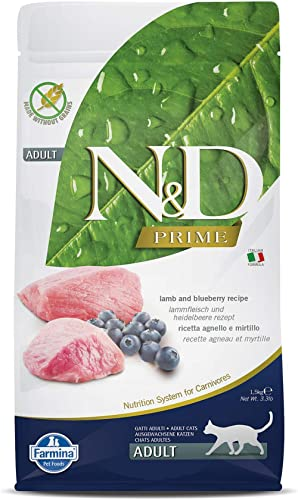 Farmina N&D Prime Dry Cat Food, Adult, Grain-Free, 1.5-kg, Lamb and Blueberry