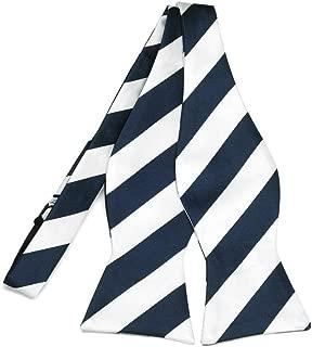 TieMart Navy Blue and White Striped Self-Tie Bow Tie