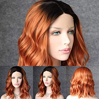 QD-Udreamy Black Roots To Copper Brown Hair Lace Front Wigs Short Wigs Natural Wavy Hair Glueless Synthetic Wigs for Women