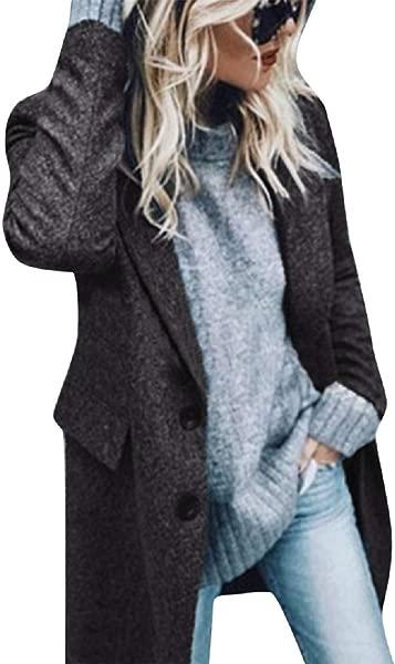 Reokoou Woolen Jacket Ladies Medium Long Cardigan Casual Coat Open Front Lapel Outwear Long Sleeve Button Comfy Top