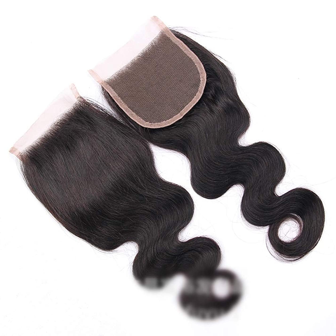 学校教育ズームインする静かなYESONEEP ブラジル実体波レース閉鎖無料パート100%バージン人間の髪の毛の閉鎖ナチュラルカラービッグウェーブウィッグ (色 : 黒, サイズ : 20 inch)