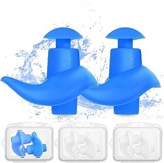 Swimming Earplugs 4 Pairs - Waterproof Reusable Silicone Swimming Ear Plugs for Swimming Showering Bathing Surfing Snorkel...